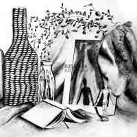 martwa natura, kurs rysunku na studia, egzamin politechnika, teczka ASP