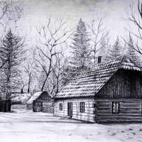 rysunek ołówkiem, kurs architektoniczny, szraf, rysunek chaty